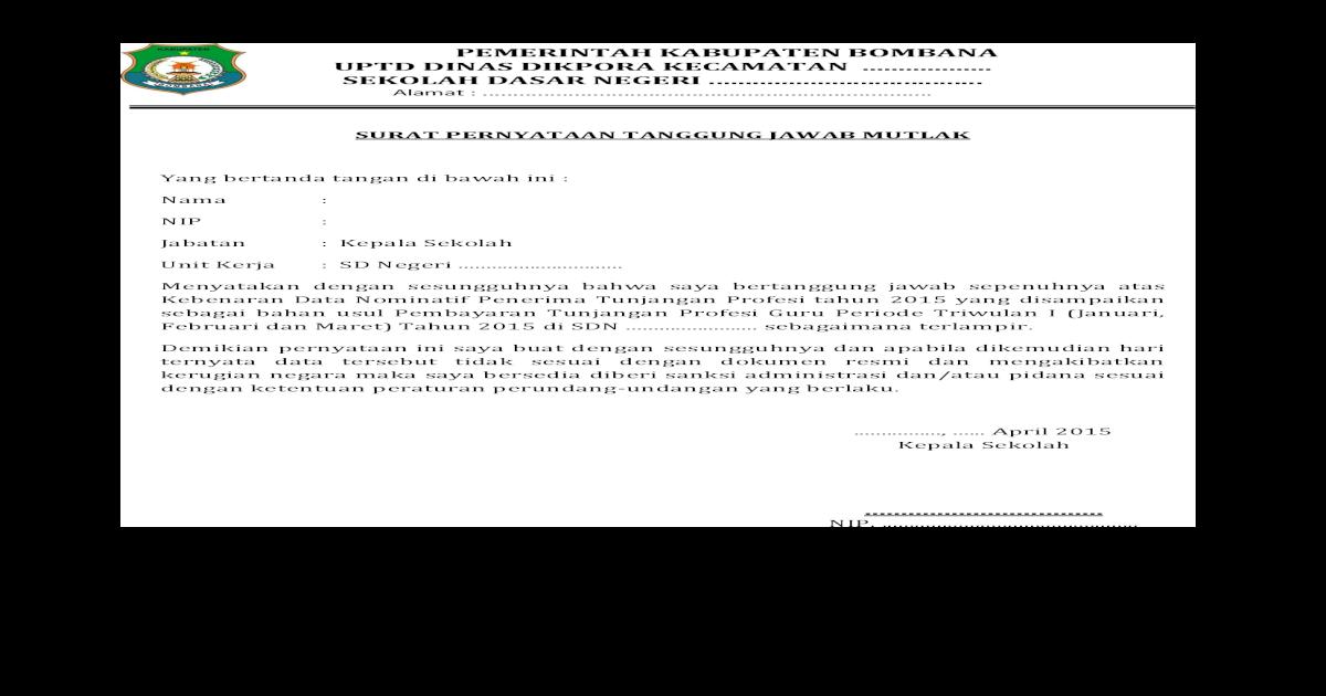 Surat Pernyataan Tanggung Jawab Mutlak Contoh Pdf Document