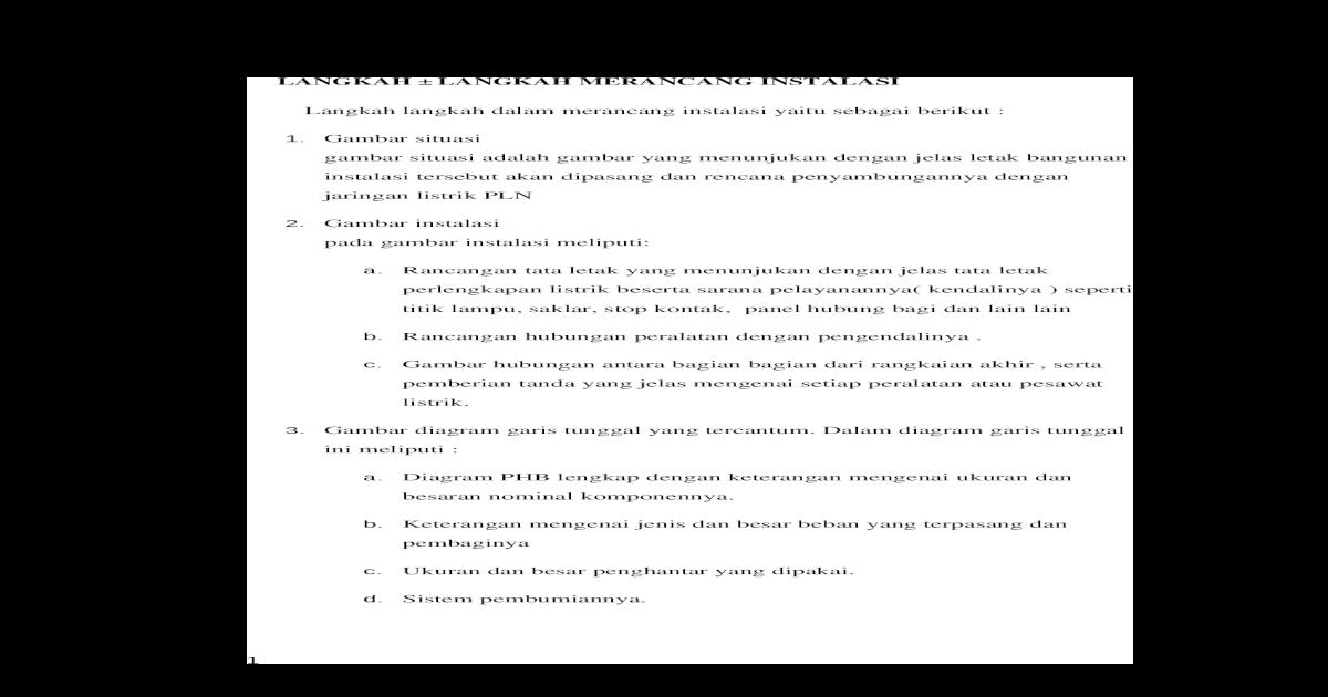 Makalah Perancangan Instalasi Listrik 1 Fasa Docx Document