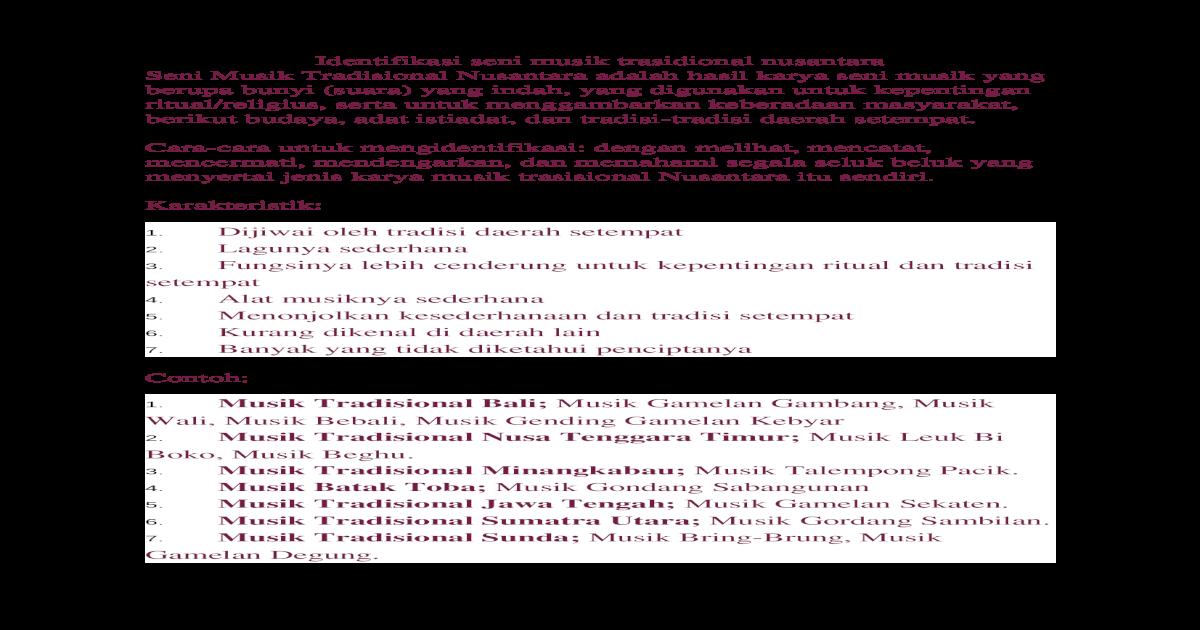 Identifikasi Seni Musik Trasidional Nusantara Docx Document
