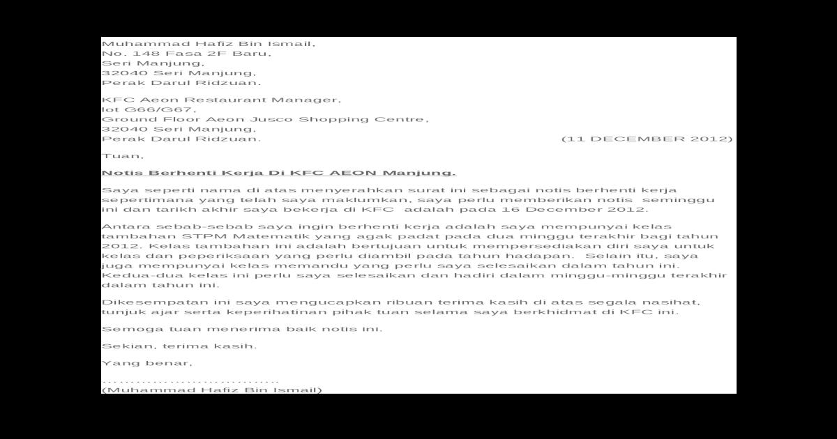 Surat Berhenti Kerja Docx Document