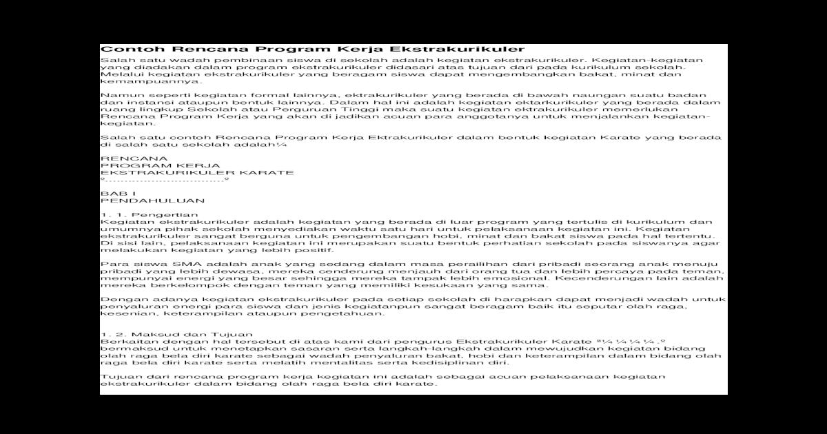 Contoh Rencana Program Kerja Ekstrakurikuler Docx Document