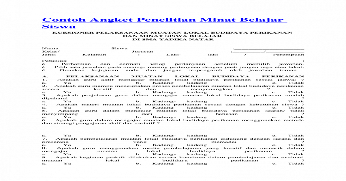 Contoh Angket Penelitian Minat Belajar Siswa Docx Document