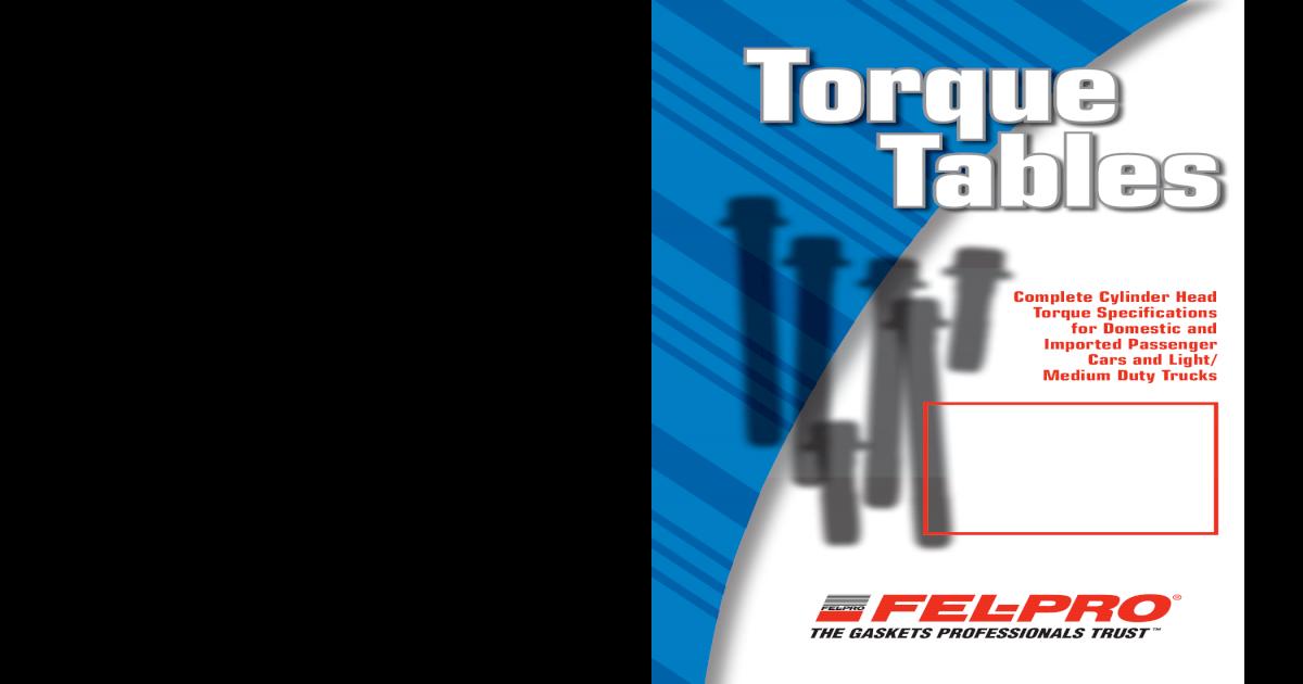 Felpro torque specs pdf document fandeluxe Gallery