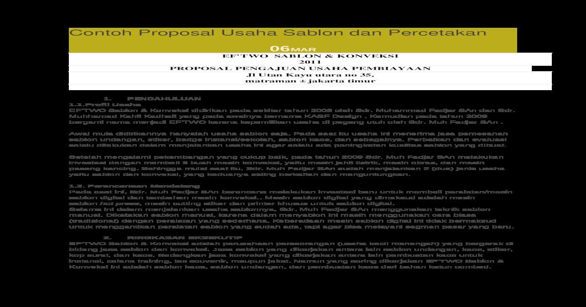 Contoh Proposal Usaha Sablon Dan Docx Document
