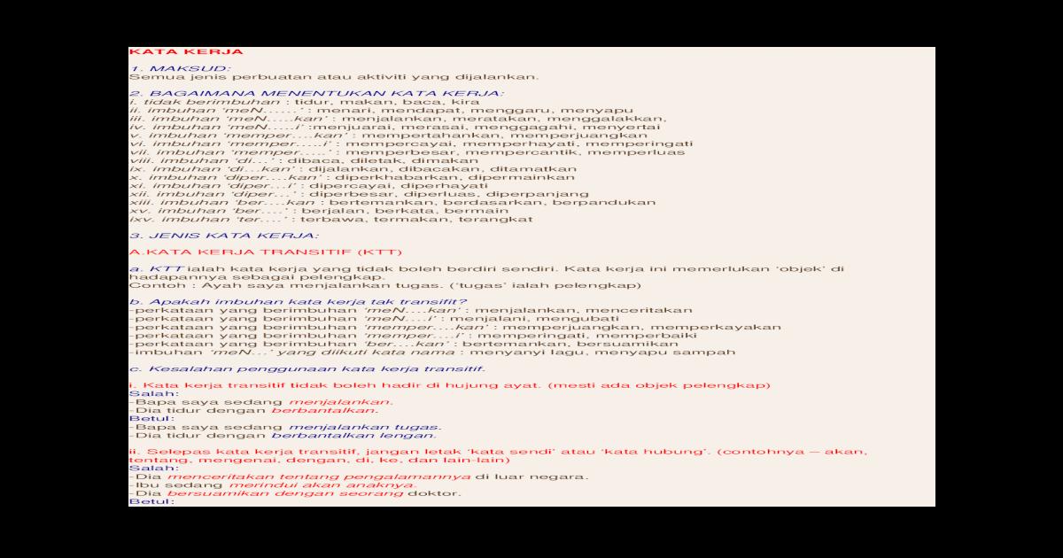 Kata Kerja Spm Docx Document