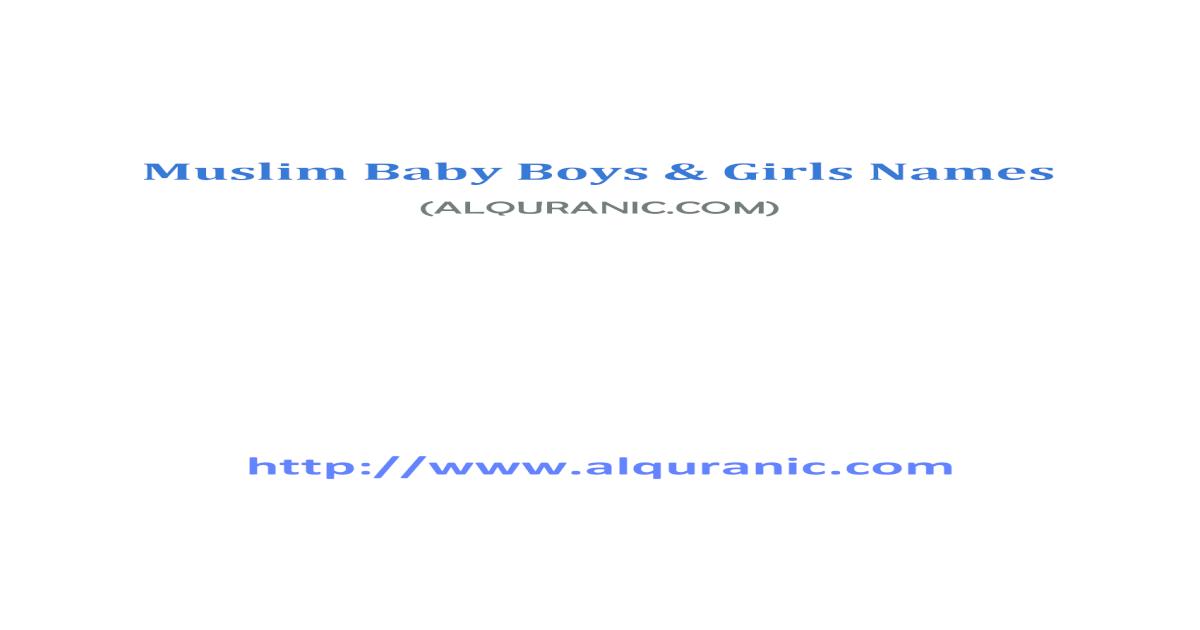 Muslim Baby Boys & Girls Names - [PDF Document]