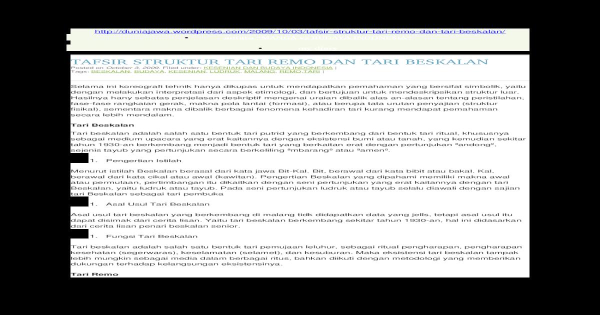 Tafsir Struktur Tari Remo Dan Tari Beskalan Docx Document