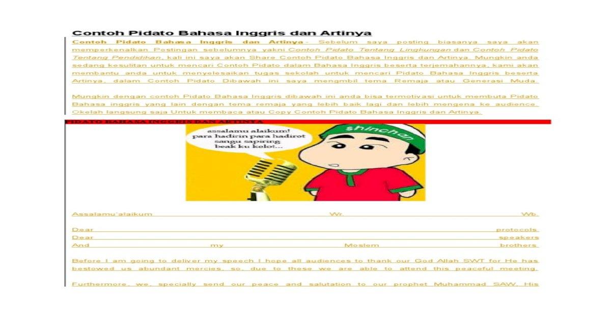 Contoh Pidato Bahasa Inggris Dan Artinya Docx Docx Document