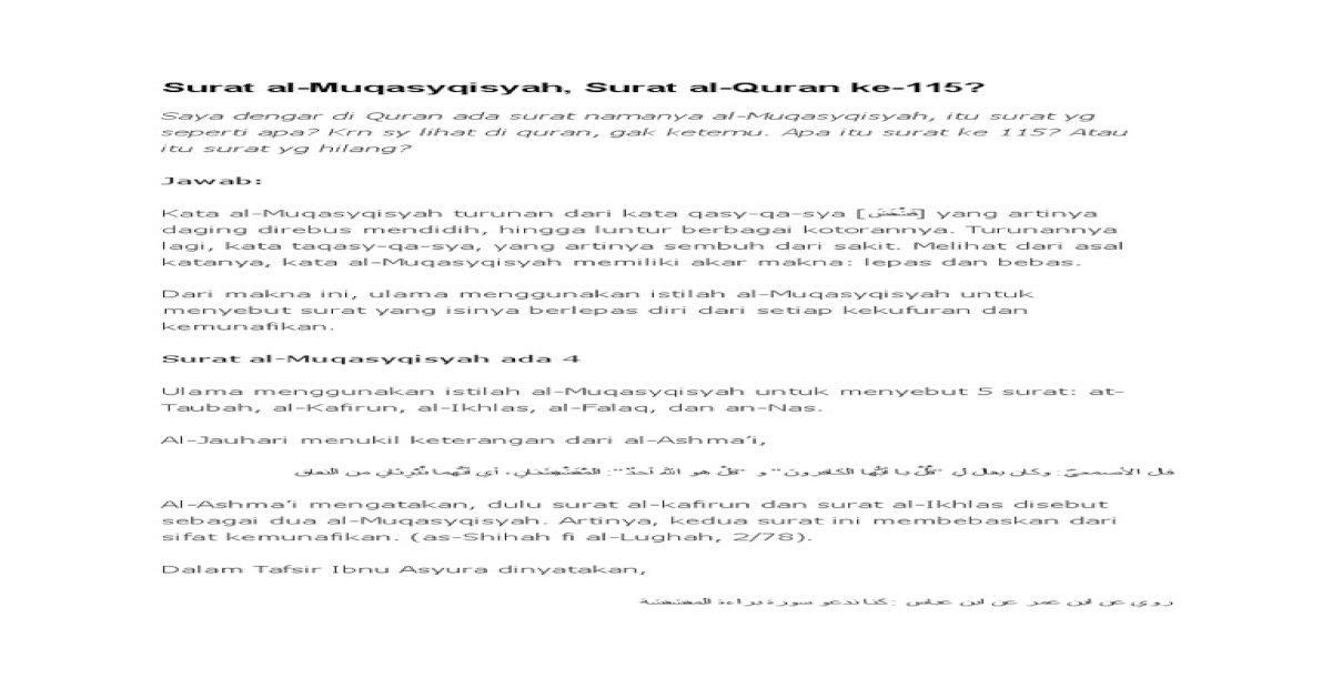 Surat Al Muqasyqisyah Docx Document