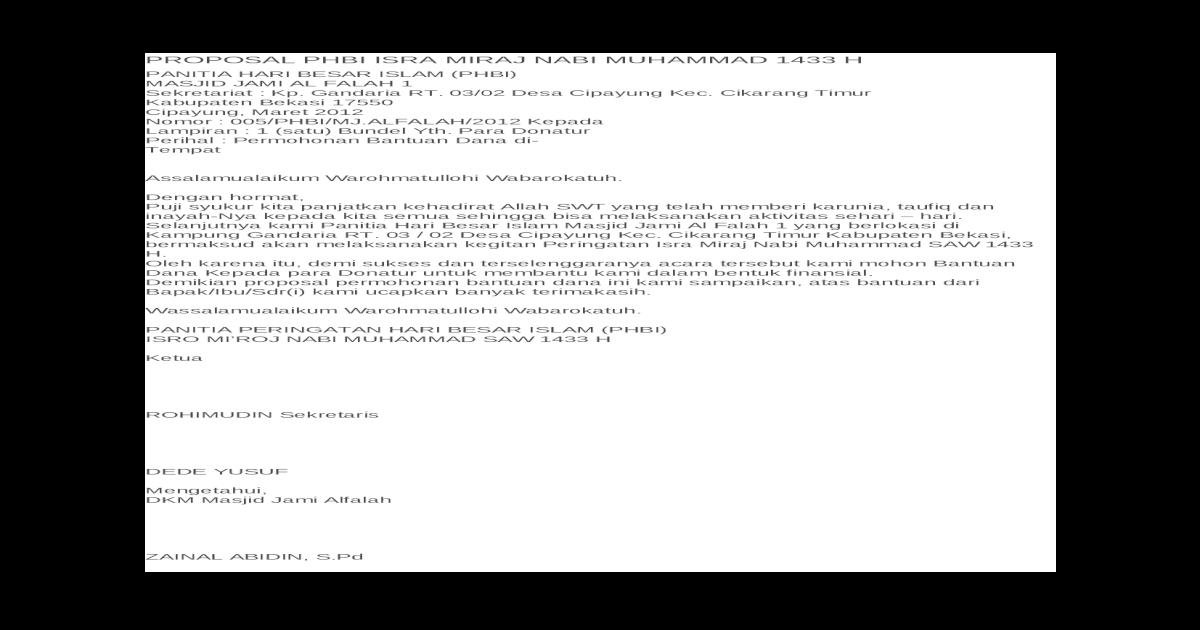 Proposal Phbi Isra Miraj Nabi Muhammad 1433 H Docx Document