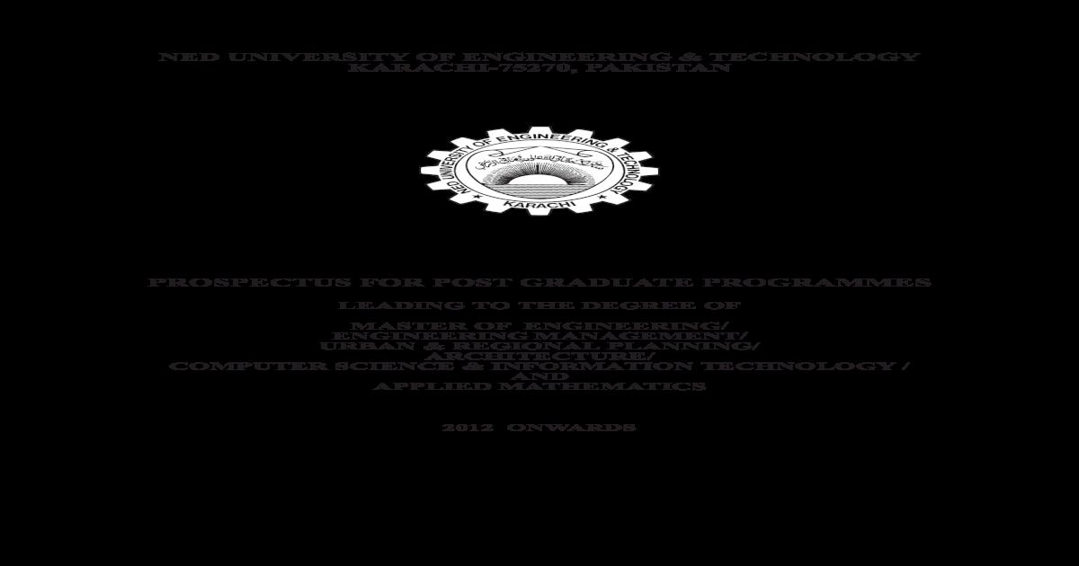 Post graduate prospectus NEDUET Karachi - [PDF Document]