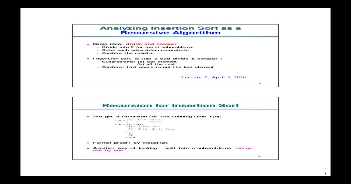 Analyzing Insertion Sort as a Recursive Algorithm Recursion