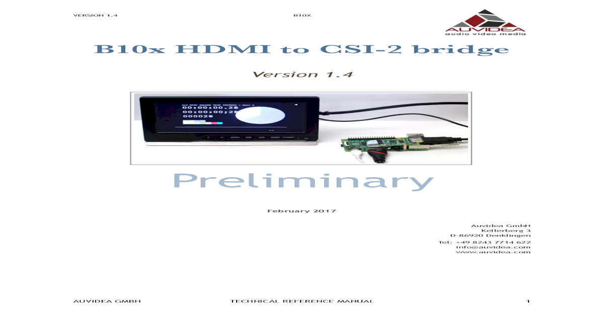 B10x HDMI to CSI-2 bridge - Auvidea 1 4 B10X B10x HDMI to