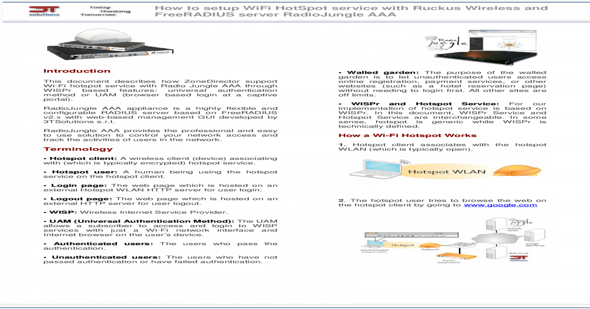 Wifi hotspot ruckus with freeradius radiojungle aaa - [PDF