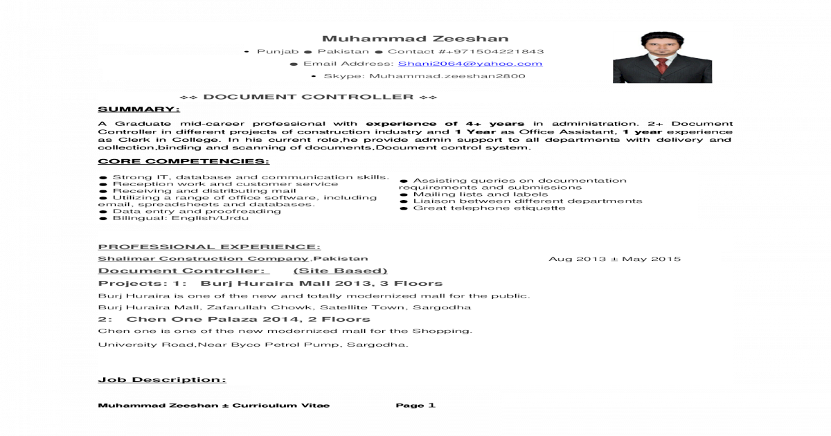 CV FOr Document controller - [DOCX Document]