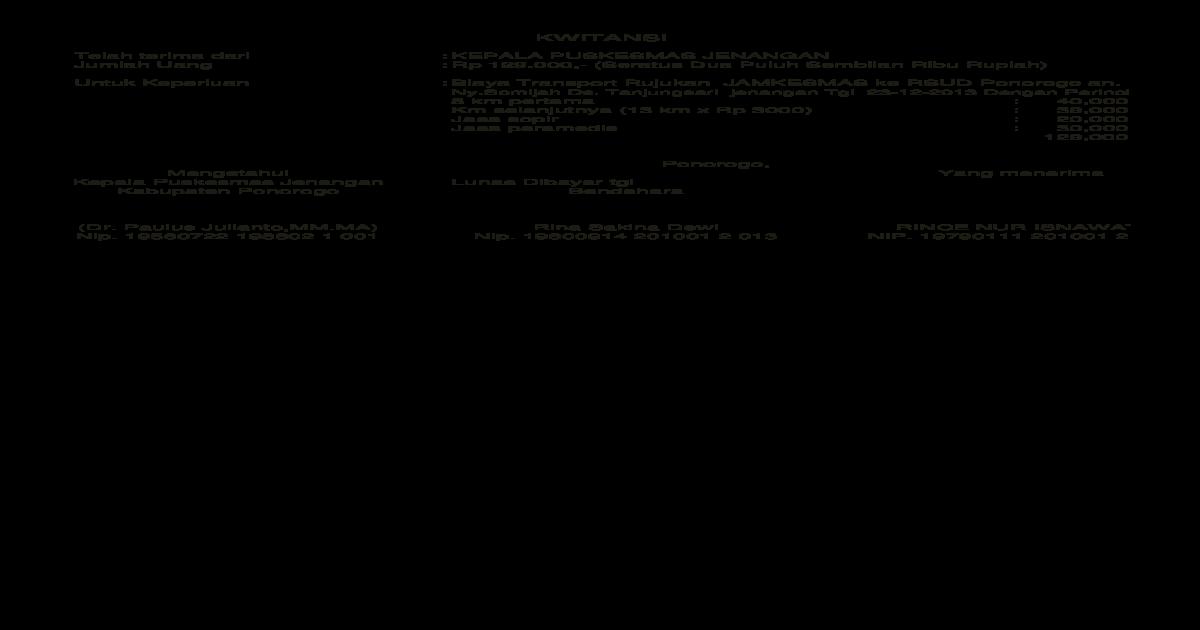 Kwitansi Transport Rujuk Xlsx Document