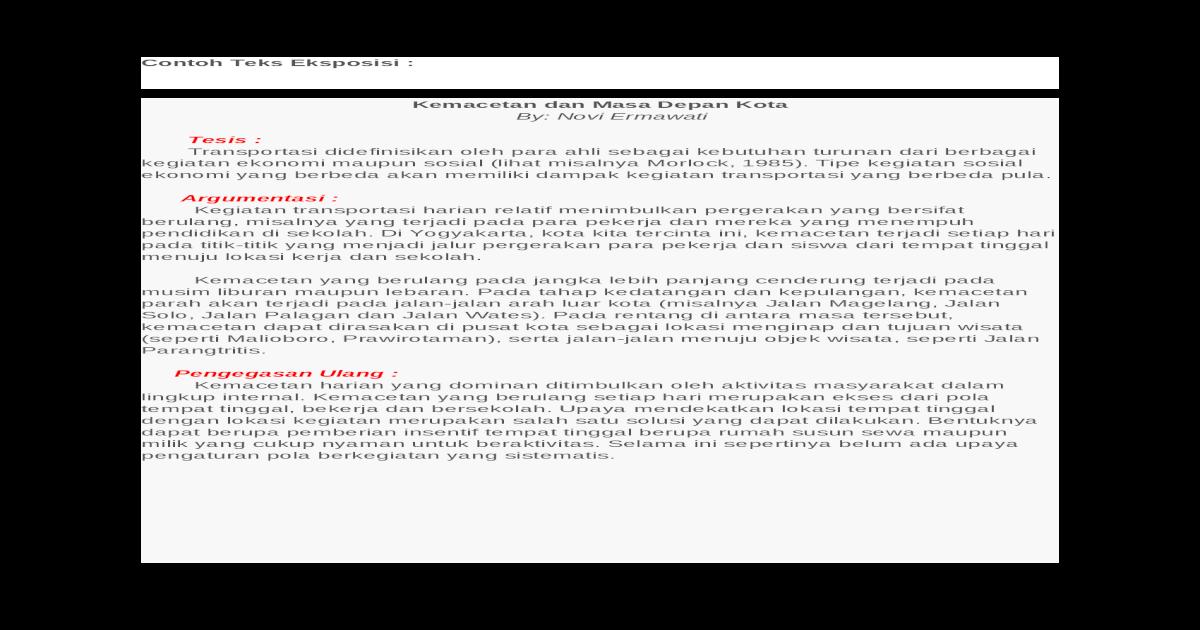 Contoh Teks Eksposisi Docx Document