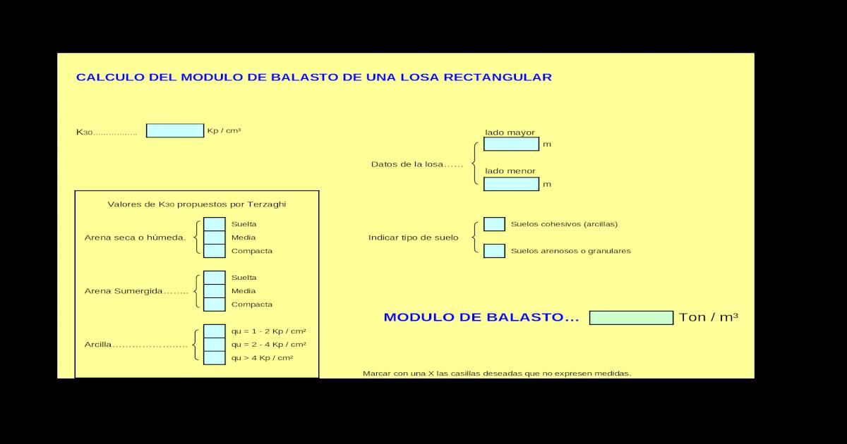 Calculo Modulo De Balasto Xls Document