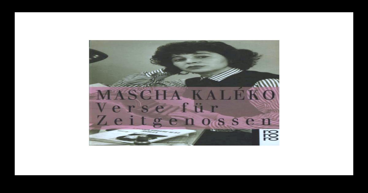 Mascha Kalko Verse Fr Zeitgenossen Pdf Document