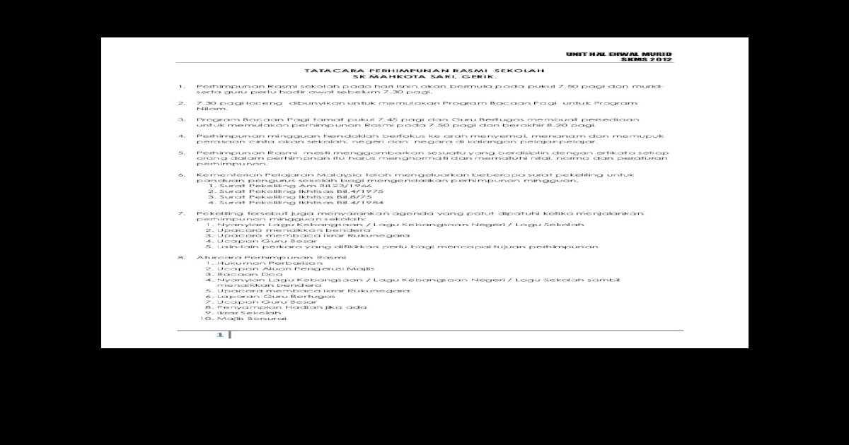 Tatacara Perhimpunan Pagi Sekolah Docx Document