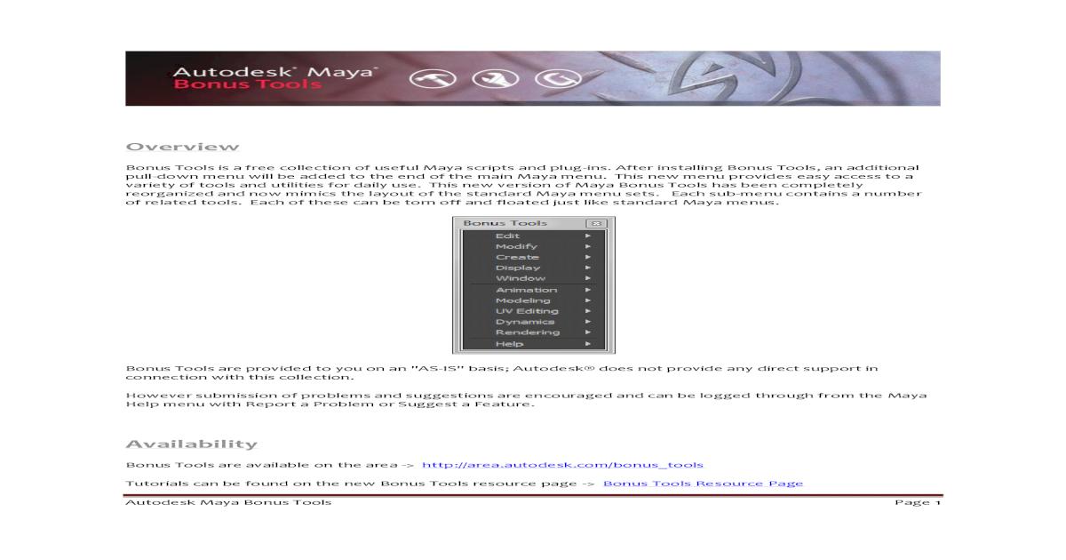 Maya Bonus Tools - [PDF Document]