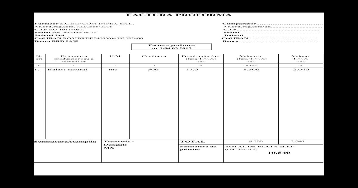 model factura proforma doc document