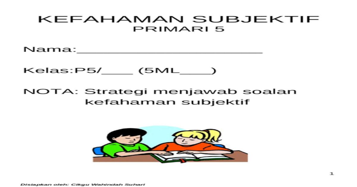 Kefahaman Subjektif Primari 5 Ppt Powerpoint