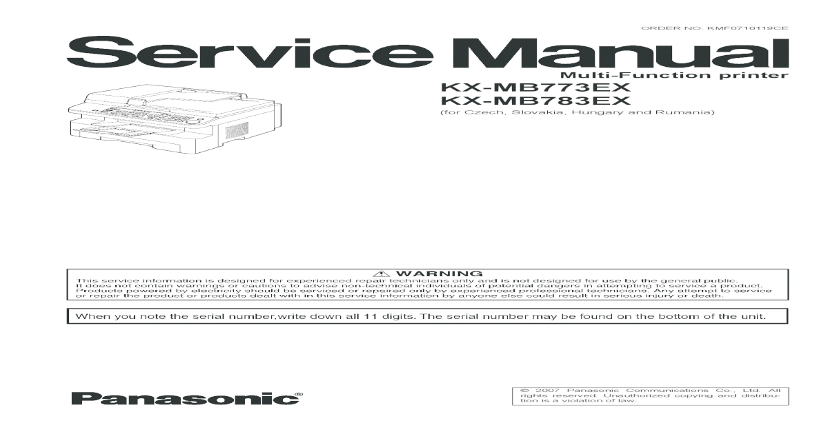 Panasonic KX-MB773EX Multi-Function Station Drivers for Windows 7