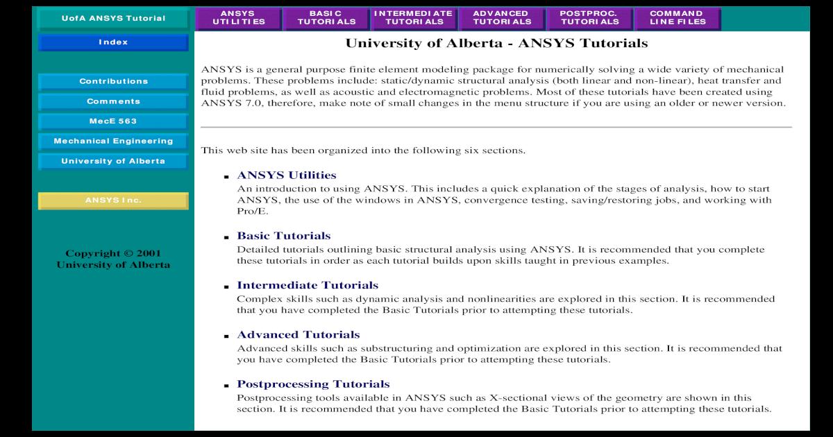 University of Alberta - Ansys Tutorials - [PDF Document]