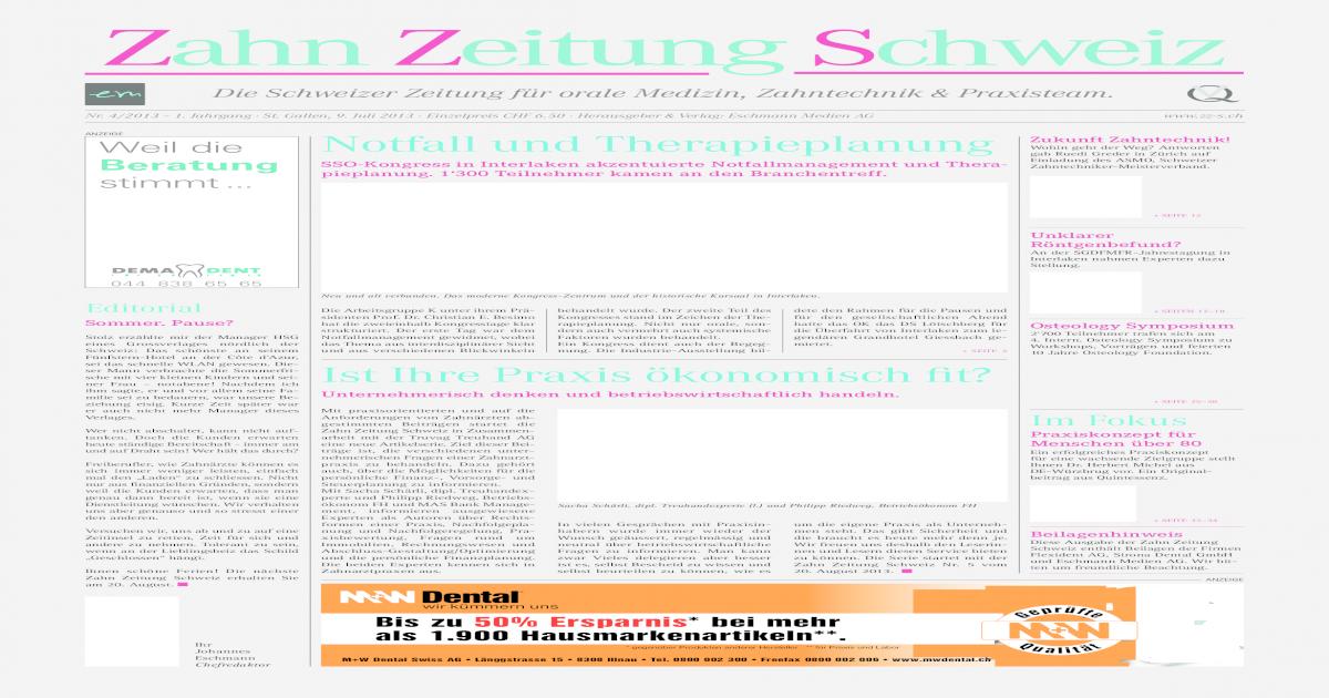 Zahn Zeitung Schweiz Ausgabe 4 Jahrgang 2013 Pdf