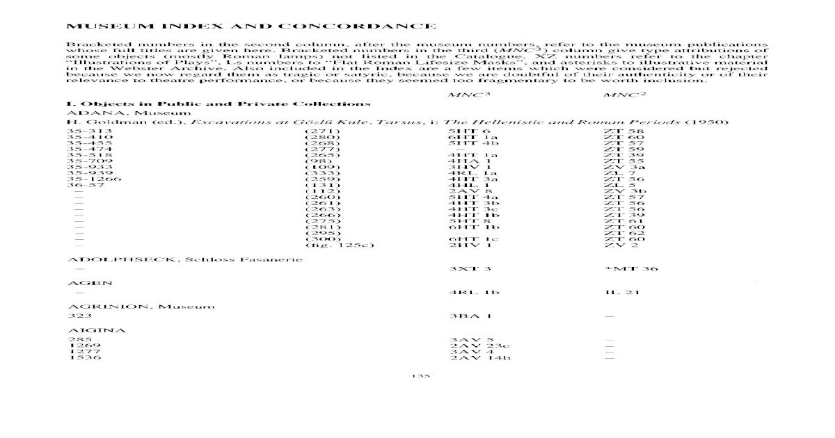 MUSEUM INDEX AND CONCORDANCE - [PDF Document]