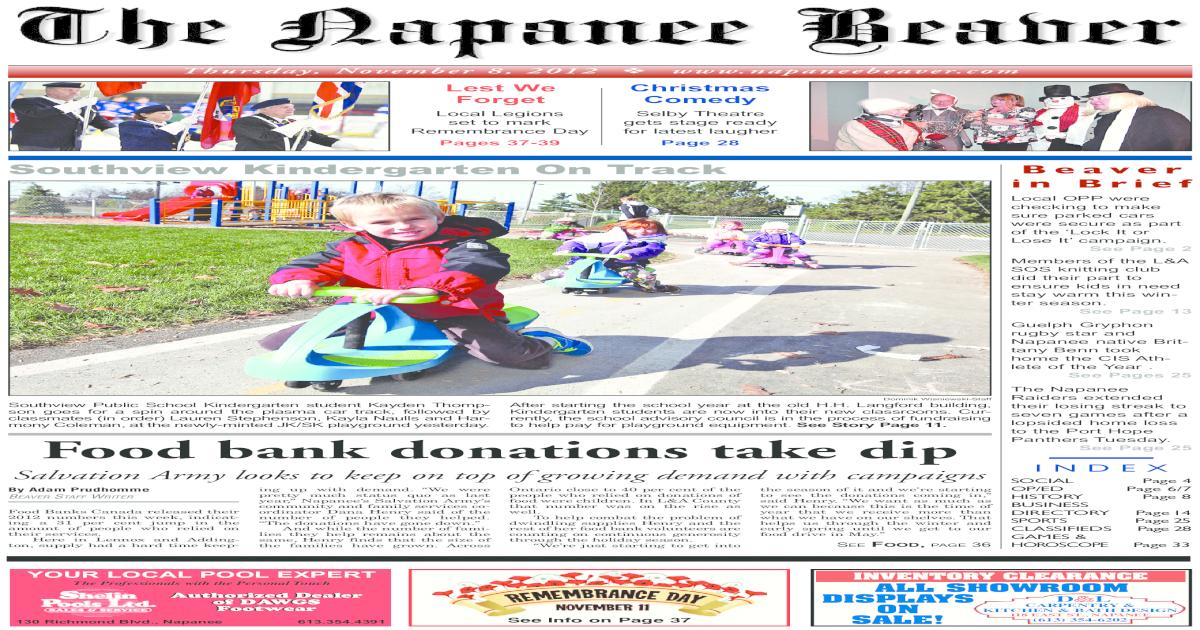 Napanee Beaver Nov 8 2012 - [PDF Document]