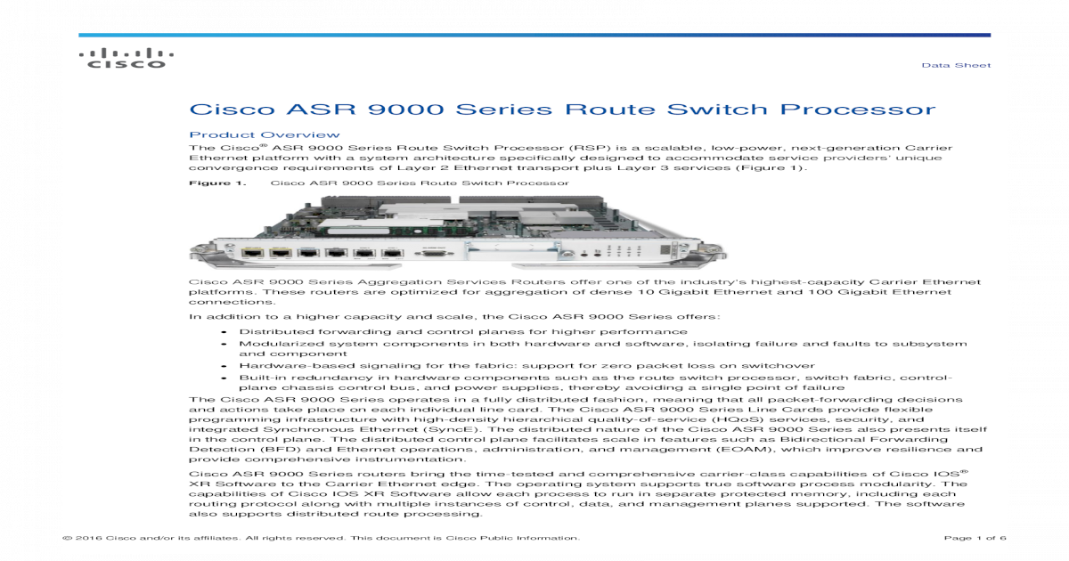 Cisco ASR 9000 Series Route Switch Processor Data Sheet
