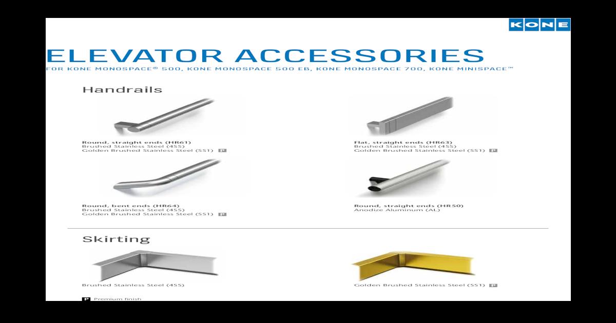 Handrails - KONE LED light panel (CL94)**     Wall washer