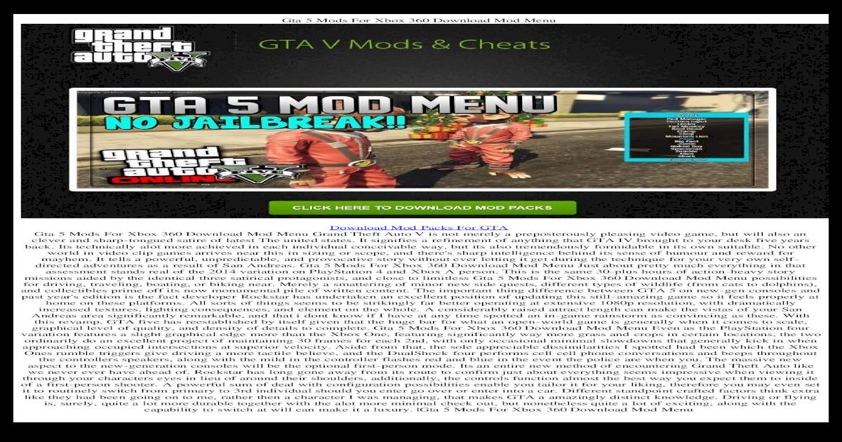 download mod menu for gta v xbox 360