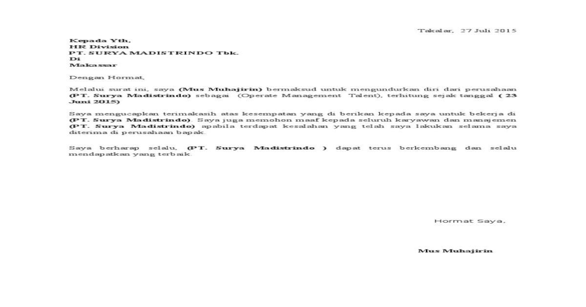 Contoh Surat Pengunduran Diri Pdf Document