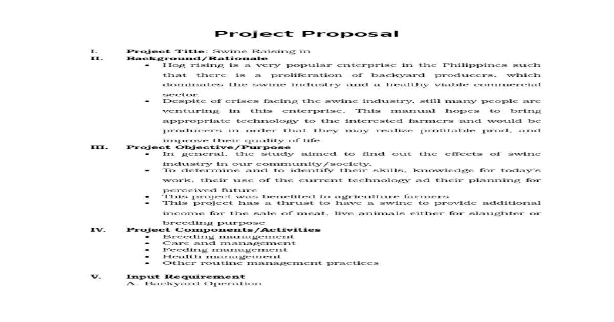 Project Proposal Swine Raising - [PDF Document]