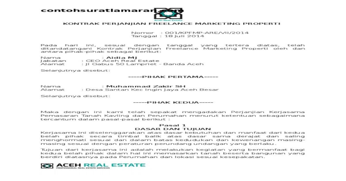 Surat Perjanjian Freelance Marketing Properti Pdf Document