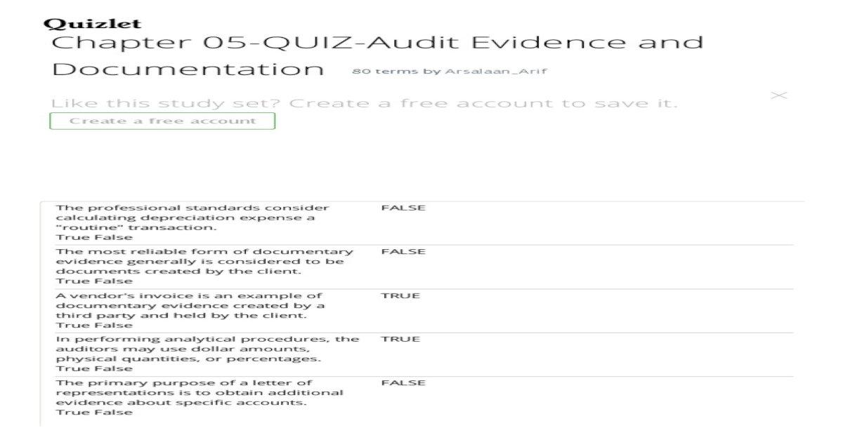 Chapter 05 Quiz Audit Evidence And Documentation Flashcards Quizlet Pdf Document