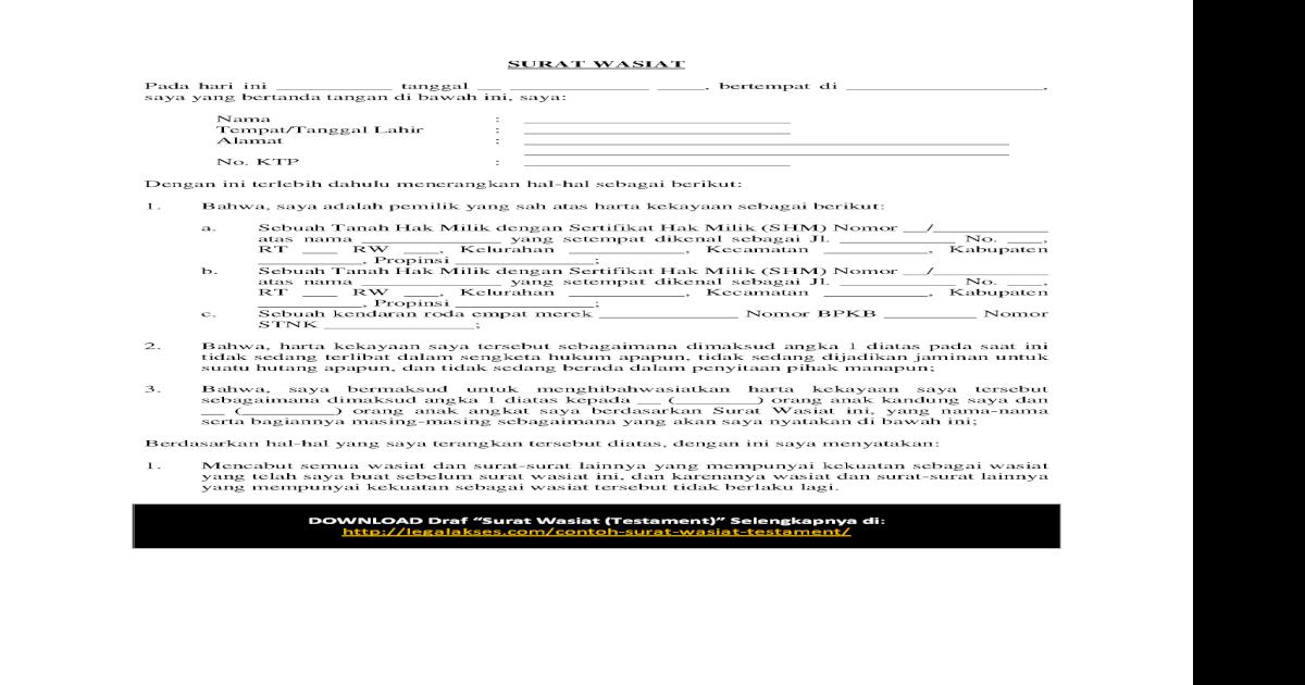 Surat Wasiat Pdf Document