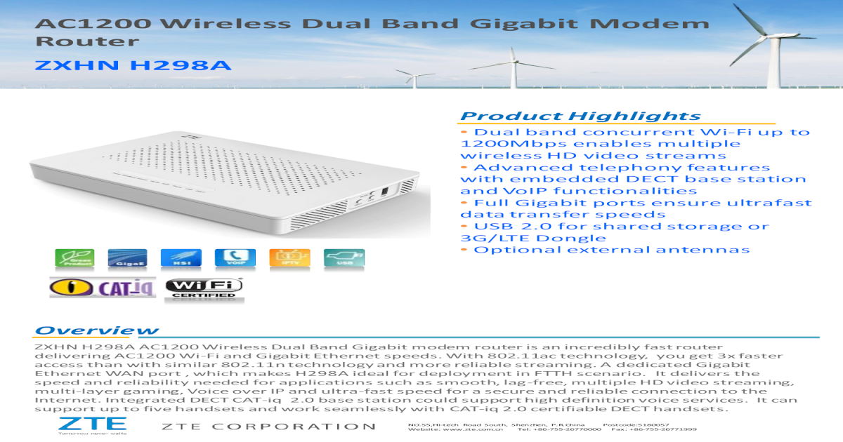 AC1200 Wireless Dual Band Gigabit Modem Router ? ZXHN H298A