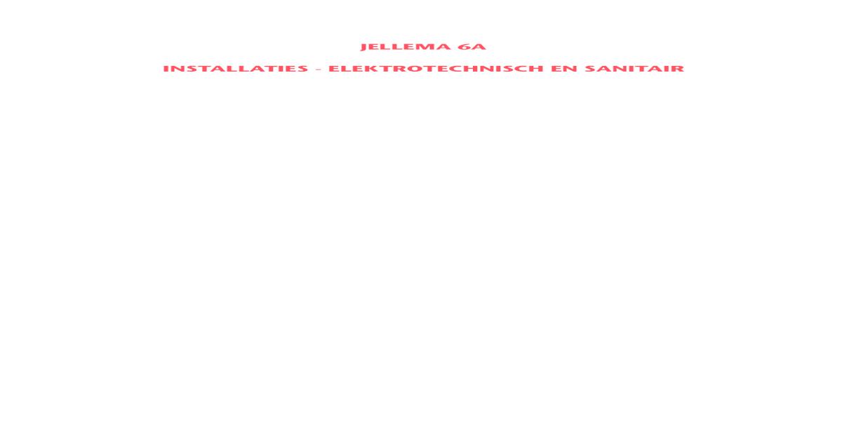 Jellema 6a Installaties Elektrotechnische En Sanitair Pdf