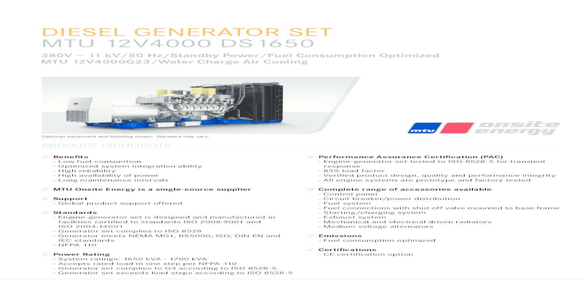 DIESEL GENERATOR SET MTU 12V4000 DS1650 - [PDF Document]