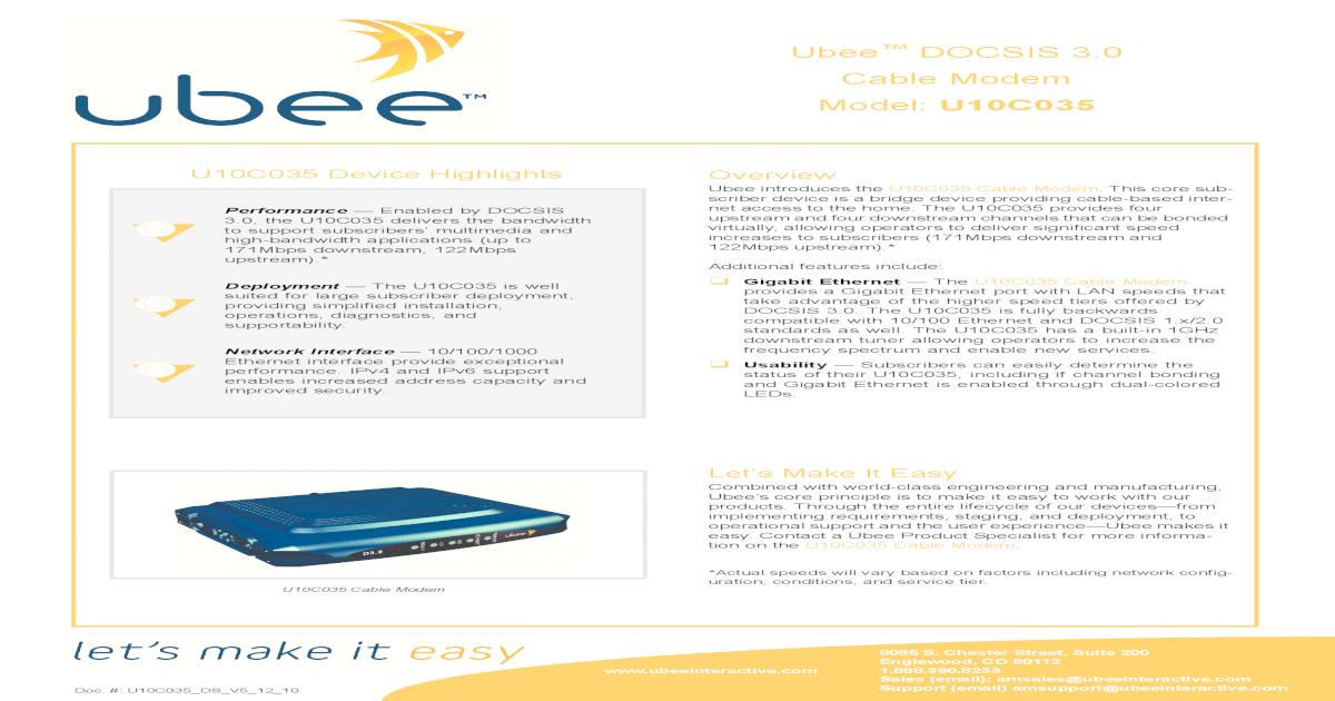 Ubee U10C035 Cable Modem Data Sheet V5!12!10 - [PDF Document]