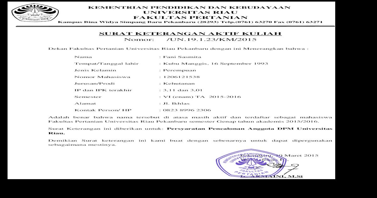 Surat Aktif Kuliah Doc Document