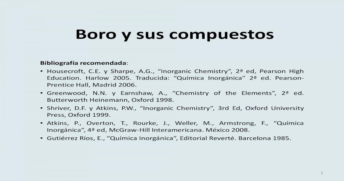 Boro Y Sus Compuestos Alumnos Pdf Document