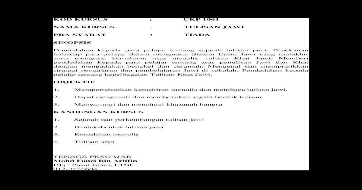 Tulisan Jawi Dan Khat Arab Doc Document