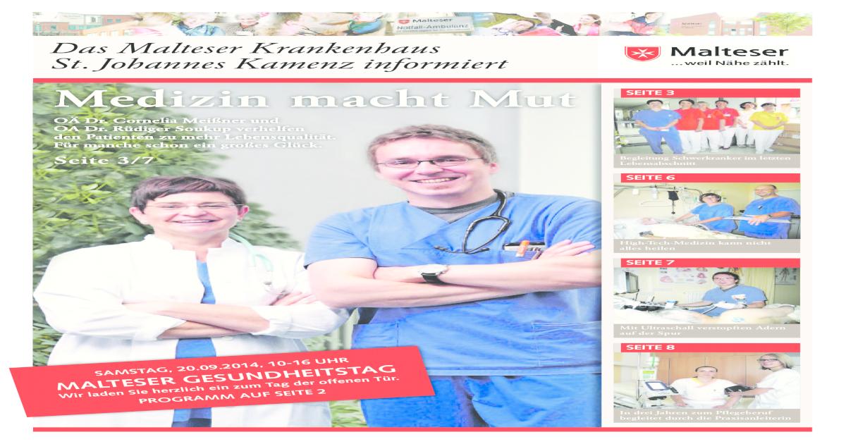 Das Malteser Krankenhaus St  Johannes informiert (Sept  2014