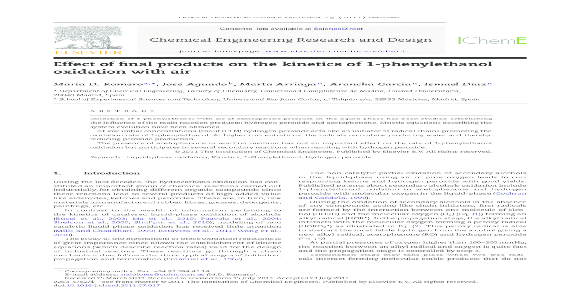 Effect Of Final Products On The Kinetics Of 1 Phenylethanol Oxidation With Air Pdf Document