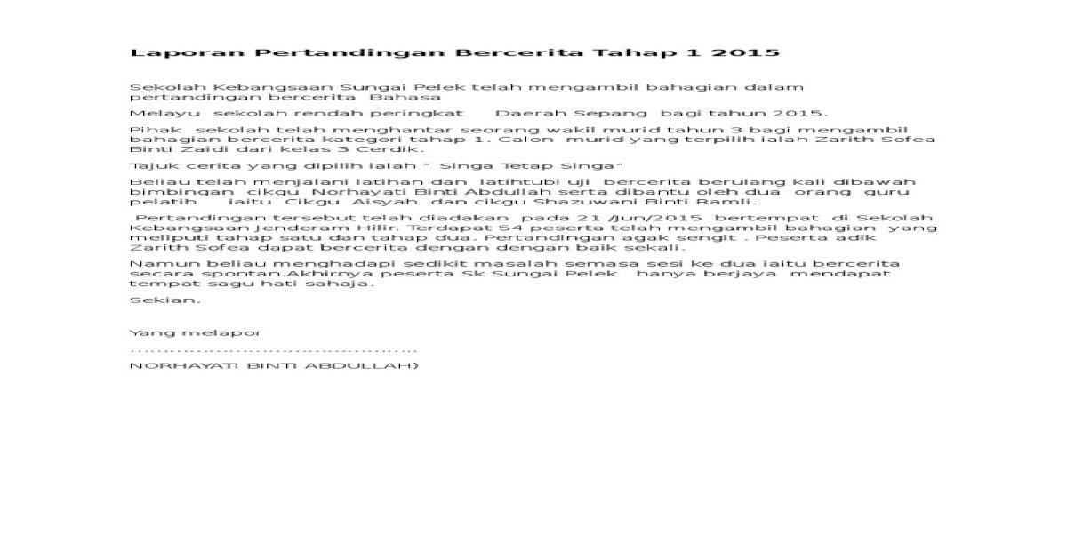 Laporan Pertandingan Bercerita Tahap 1 2015 Pdf Document